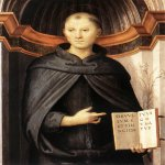 Pietro Perugino (1445-1523)  St Nicholas of Tolentino  Oil on panel, 1507  31 x 24 3/8 inches (79 x 62 cm)  Galleria Nazionale d'Arte Antica, Rome